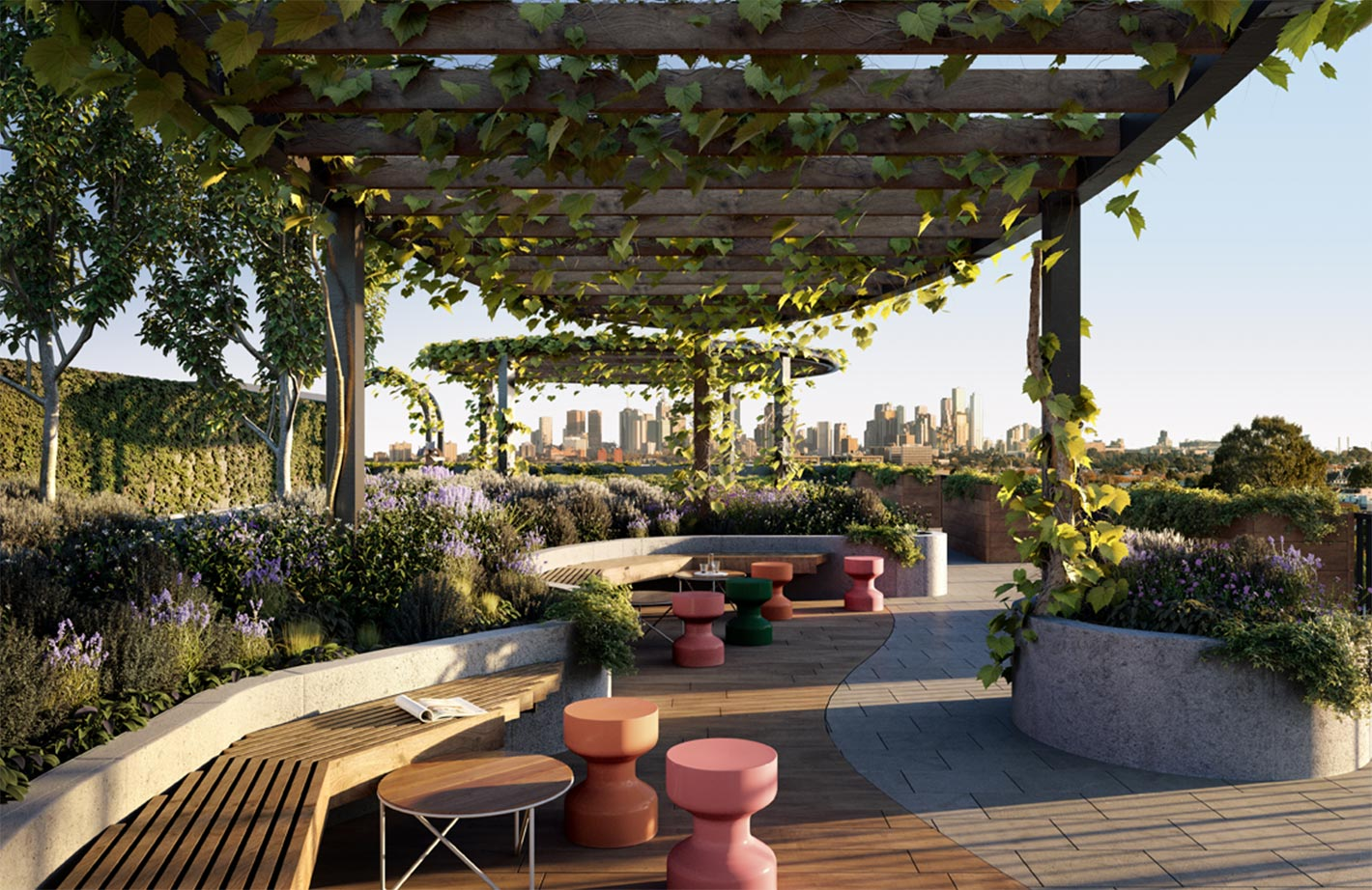 large rooftop garden with seating