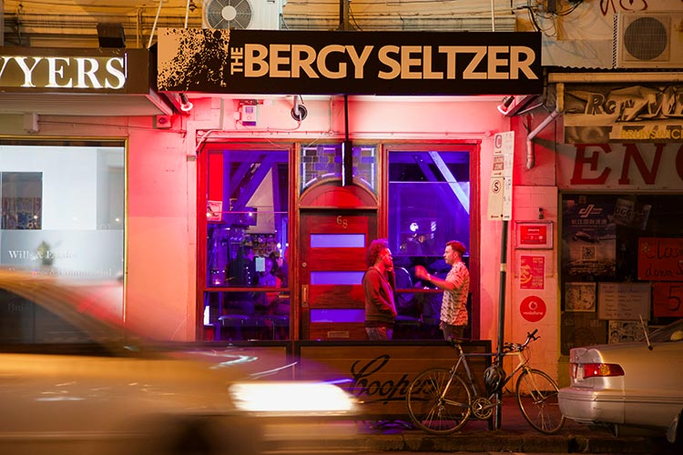 The front doors of the Bergy Seltzer