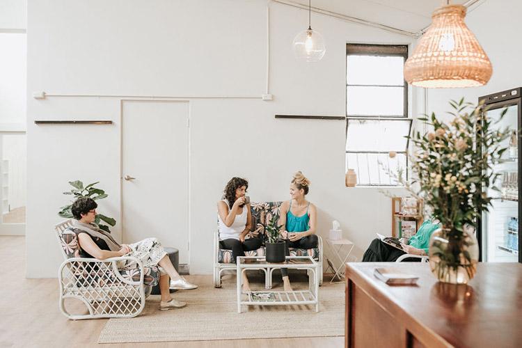 People sitting the EVE Studio located in Brunswick